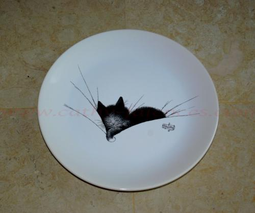 Assiette plate chat gros dodo Dubout